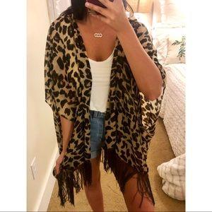 Tops - Boho Leopard Shear Fringe Shall